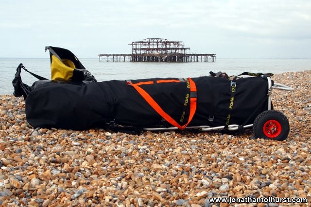 Packed Folding Kayak on Brighton Beach