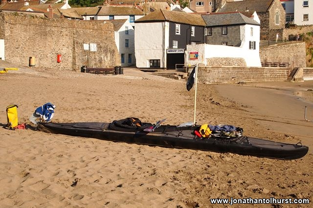 My kayak on the beach at Gorran Haven