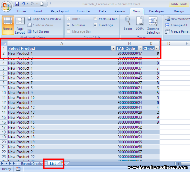 Creating a simple EAN13 barcode labeller using Excel