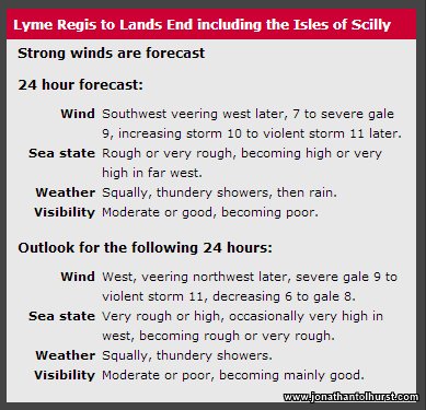 Not often you see a Force 11 mentioned in the inshore forecast!